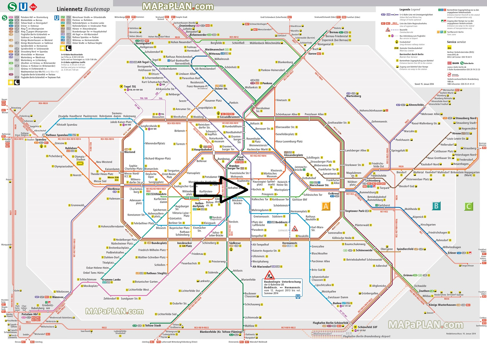 Berlin top tourist attractions printable map